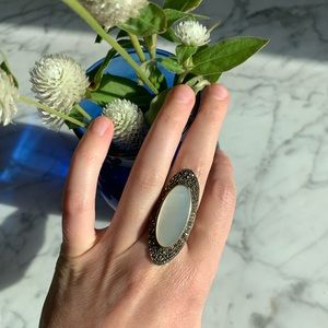 Faux pearl & marcasite ring